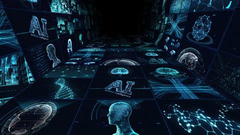 Digital Network Technology AI artificial intelligence data concepts Background B Yoko-Tate C1 3x3 CG動画