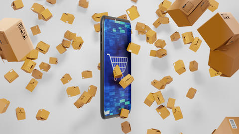 Seamless Loop 3D render E-commerce Smartphone and Parcels Falling down with Shopping cart on Animation