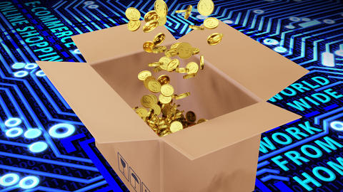 3D Rendered a number of Golden Dollars Coins Falling into Brown Package on Circuit Board and Binary Animation