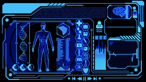 3D Human Model Rendering Rotating in Medical Futuristic HUD Display Screen including Icon sets, Animation