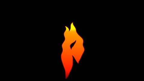 Vector Flat Cartoon flame text typography animation loop with alphaP Animation