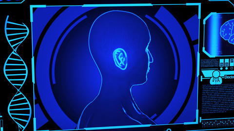 3D Human Head Model Rendering Rotating in Medical Futuristic HUD Display Screen including DNA, Animation