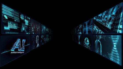 Digital Network Technology AI artificial intelligence data concepts Background TA2 2x2 blue CG動画