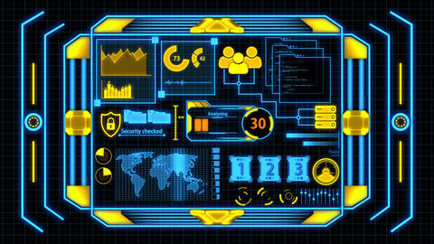 HUD Screen With Orange And Blue Data Analysis Details including Loading bar, world map, cyber Animation
