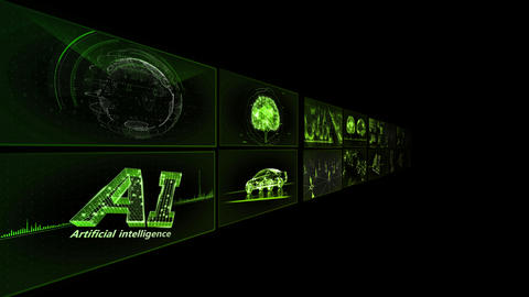 Digital Network Technology AI artificial intelligence data concepts Background TB1 2x2 green Animation