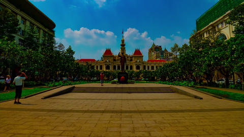 A timelapse of cityscape at Nguyen Hue street in Ho Chi Minh wide shot tilt Live Action