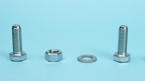 Accessories for mechanical fixing on a blue background Live Action