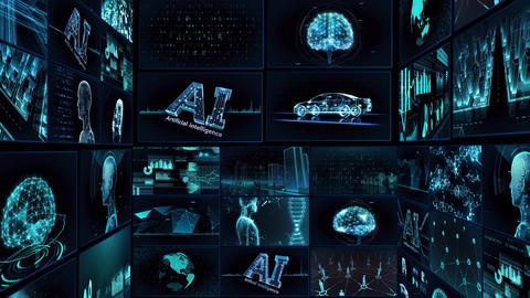 Digital Network Technology AI artificial intelligence data concepts Background TE1 Mix blue Animation