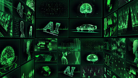 Digital Network Technology AI artificial intelligence data concepts Background TE1 Mix green Animation