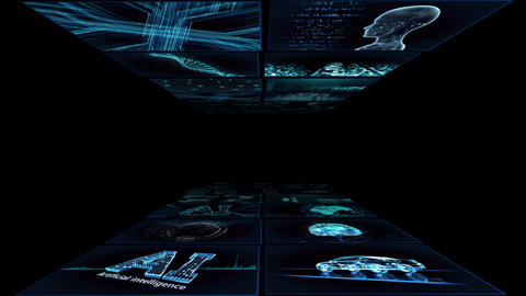 Digital Network Technology AI artificial intelligence data concepts Background YA1 2x2 blue Animation