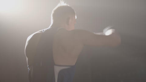 Side view of Caucasian boxer practicing in backlight. Strong confident sportsman Live Action