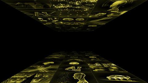 Digital Network Technology AI artificial intelligence data concepts Background YA1 3x3 yellow Animation