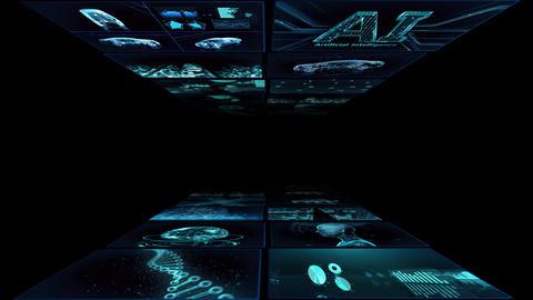 Digital Network Technology AI artificial intelligence data concepts Background YA3 2x2 blue Animation