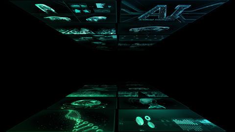 Digital Network Technology AI artificial intelligence data concepts Background YA3 2x2 green Animation