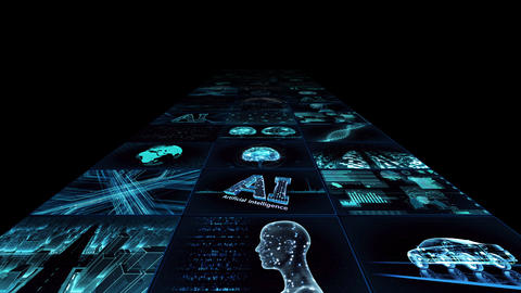 Digital Network Technology AI artificial intelligence data concepts Background YB1 3x3 blue Animation