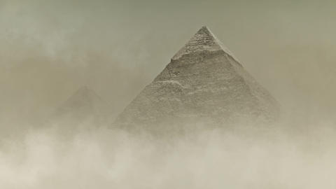 The Great Pyramid of Giza Under a Sandstorm Live Action