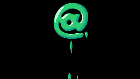 Flat gooey slimy letters typeface cartoon style animation snot flowing in with alpha Animation