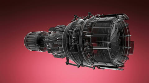 loop rotate jet engine turbine of plane, aircraft concept, aviation and aerospac Animation