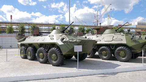Armored personnel carriers. Pyshma, Ekaterinburg, Russia Stock Video Footage
