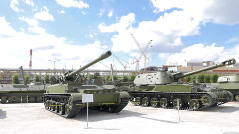 Self-propelled artillery. Pyshma, Ekaterinburg, Russia Footage