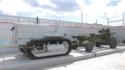 Tractor Stalinets-65 and howitzer-gun 152 mm. Pyshma, Ekaterinburg, Russia Footage
