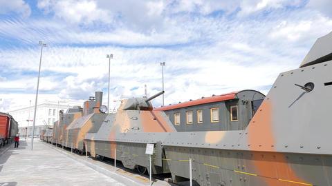 The armored train. Pyshma, Ekaterinburg, Russia Footage