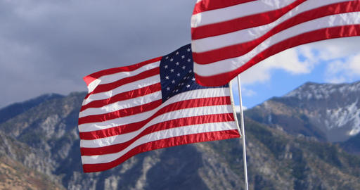 United States of America flags mountain focus DCI 4K 631 Footage