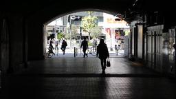 People walking in a passageway below Yurakucho Station, Tokyo Footage