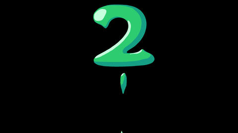 Flat gooey slimy letters typeface cartoon style animation snot flowing in with alpha 2 Animation