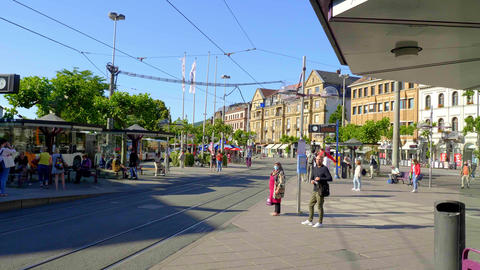 Public Transport in the city of Heidelberg - HEIDELBERG, GERMANY - MAY 28, 2020 Live Action