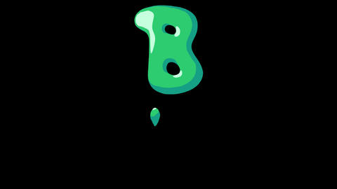 Flat gooey slimy letters typeface cartoon style animation snot flowing in with alpha B Animation