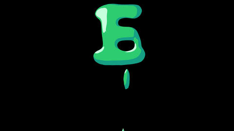 Flat gooey slimy letters typeface cartoon style animation snot flowing in with alpha E Animation