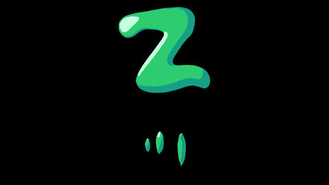 Flat gooey slimy letters typeface cartoon style animation snot flowing in with alpha Z Animation