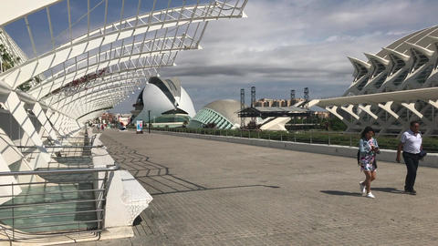 Valencia, Spain, June 22 2019: tourists walk in the city of science Live Action