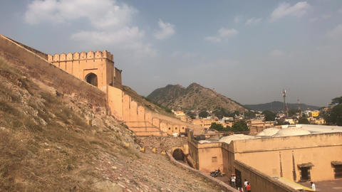 Jaipur, India, November 05, 2019, Amer Fort, tourists examine the historic Live Action