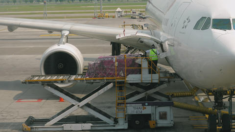 Uploading cargo onboard the aircraft Live Action