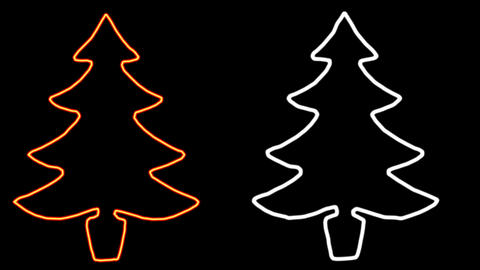 Glowing lines forming the shape of christmas tree with black background CG動画