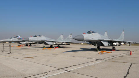 Combat Military Fighter Jets Donated by Russia to Serbia at Batajnica Belgrade Live Action