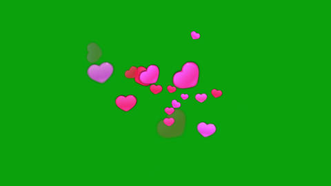 Pink hearts motion graphics with green screen background CG動画