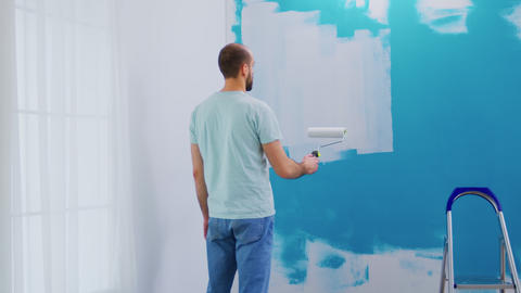 Covering wall blue paint Live Action