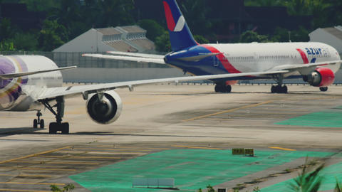 Traffic at Phuket International airport Live Action