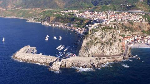 Scilla, Calabria. Southern Italian coastline in summer season Live Action