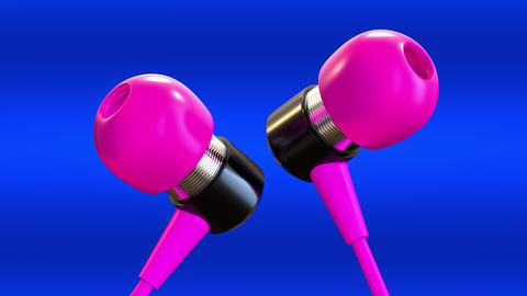 Pink headphones on a blue background CG動画