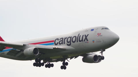 Cargolux Boeing 747 airfreighter landing Live Action