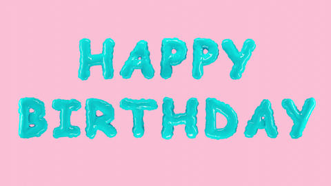 Congratulations text capital letters HAPPY BIRTHDAY balloons on pink background Live Action