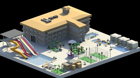 Low Poly Holiday Resort 3D Model
