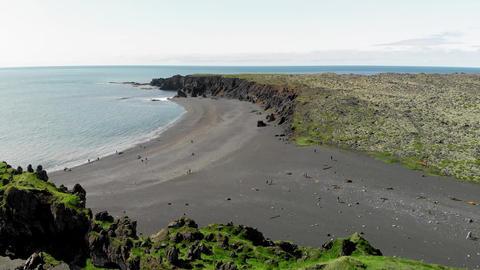 Amazing aerial view of Djupalonssandur coastline, Iceland in summer season Live Action