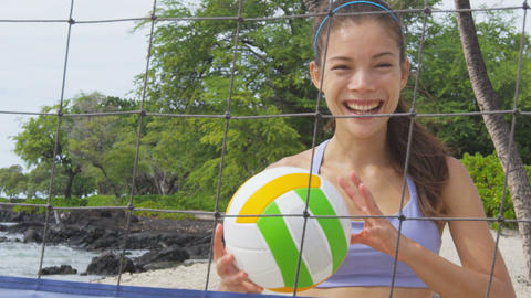 Beach volleyball woman player having fun portrait Live Action
