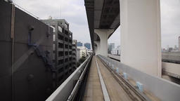 View of Tokyo from Yurikamome automated train, Tokyo, Japan Footage