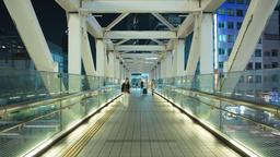 Time-lapse of pedestrians walking in Shinjuku elevated passageway, Tokyo, Japan Footage